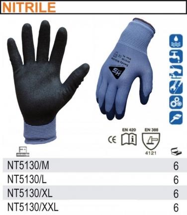 Rękawice z powłoką nitrylową do prac w kontakcie z substancjami ropopochodnymi NT5130