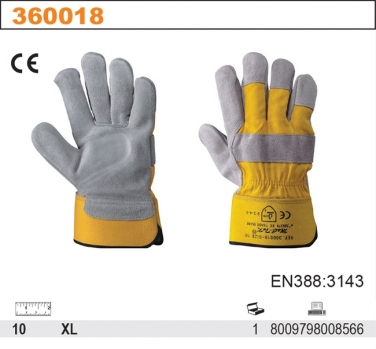 Rękawice robocze z oddychającej dwoiny bydlęcecj P85