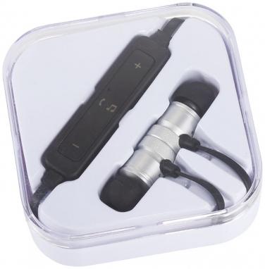 Metalowe słuchawki douszne Bluetooth® Martell Magnetic z futerałem